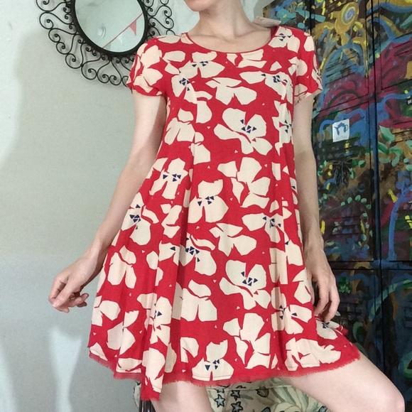 silence + noise Dresses & Skirts - Silence & Noise Red Flowy Rayon Dress